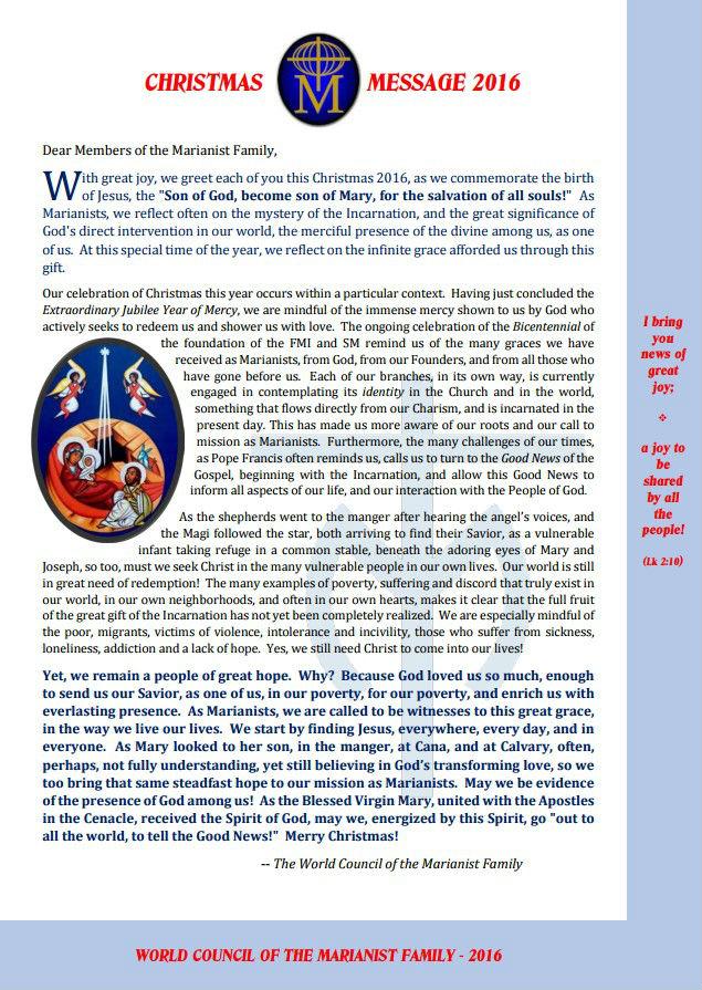 Message du conseil mondial famille marianiste Noel