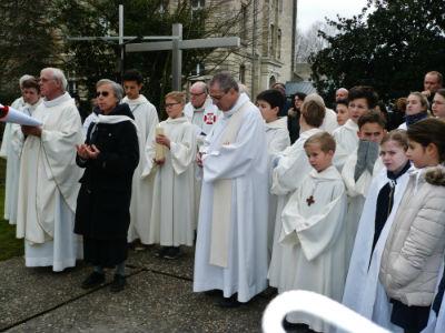 Procession avant l`inauguration des statues des Fondateurs à Sainte Marie Grand Lebrun